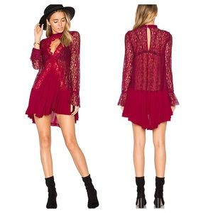 Free People Tell Tale Lace Tunic Red Bell Dress